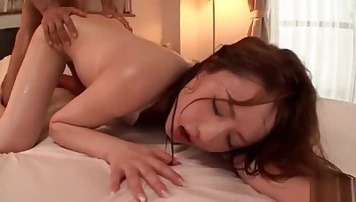 Marvelous asian harlot is getting fucked with a dildo