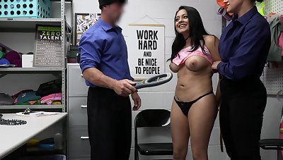 Brunette Serena Santos deployment a delicious cock with a friend