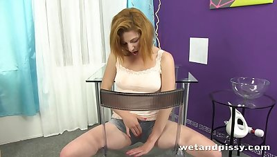 Lewd bitch with small tits pisses up ahead she finally masturbates herself
