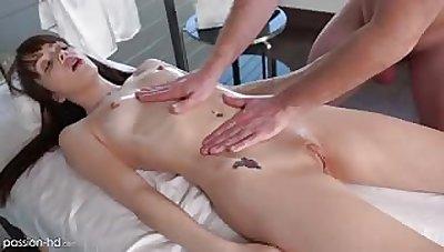 Aliya Brynn orgasms on be transferred to massage table