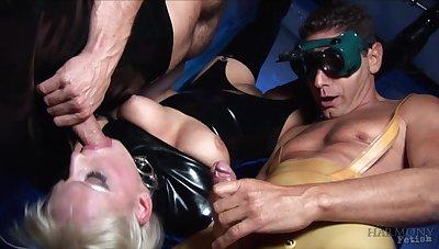 Brutal group sex in kinky fetish scenes for Jasmine Webb