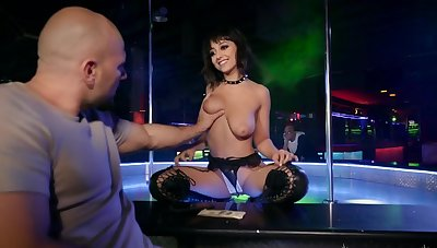 Busty beauty fucks with a client for cash