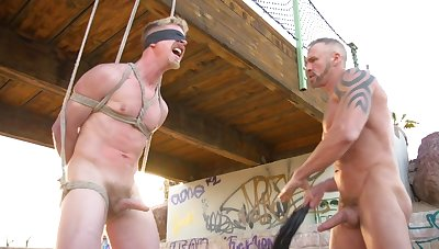 Gay truck driver ties up and tortures an innocent railway carriage stopper