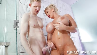Blonde pornstar Alura Jenson thither monumental fake hooters fucked