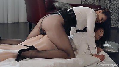 Fetish lesbian porn helter-skelter pantyhose and strapon - Danielle Sits on Ella Martin's Face