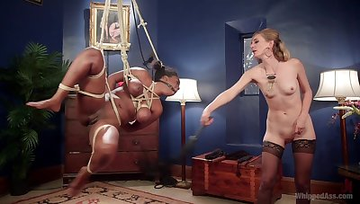 Busty ebony Lisa Tiffian is expertly secured and and fisted by hot Mona Wales