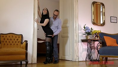 Charming Angelina Brill in lingerie makes an old panhandler cum fast