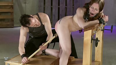 Hot ass slave girl tied up and spanked in the balance she in bits to moan