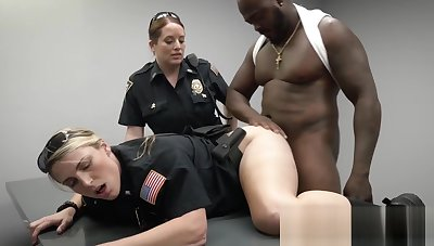 A black stud is lower than beneath interrogation by four horny and busty MILFs craving for sex
