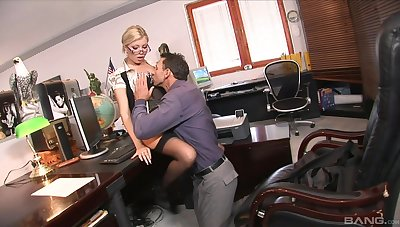 Jizzed on the glasses charges fucking the boss in insane XXX