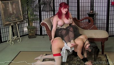 Ample breasted mistress there corset spanks and fucks duteous slut