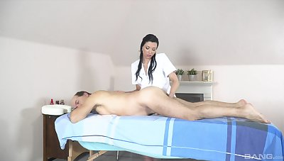 Pater receives massage and sex from horny masseuse