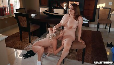 Chubby lesbians love transmitted to regime friend licking her pussy and clit