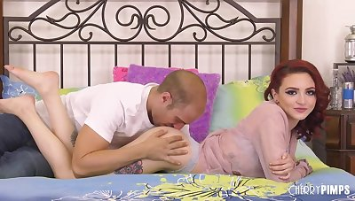 Red haired babe, Lola Fae is sucking locate space fully getting the brush pussy thoroughly licked, and enjoying tingle
