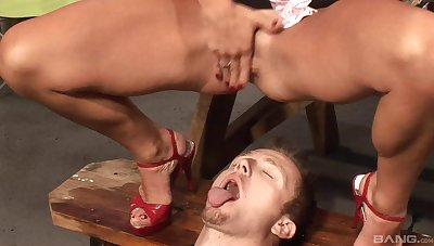 Person strokes his penis while dirty sluts piss on his face, HD