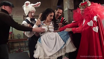 Alice in Wonderland-themed gangbang be expeditious for Arabelle Raphael