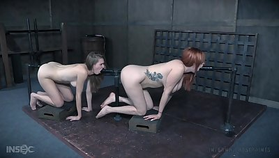 Pussy and ass poking with a copulation machine for tied up Ashley Tool along