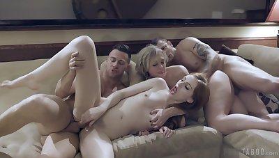 Horny pornstars Dee Williams and Maya Kendrick have sex encircling one panhandler