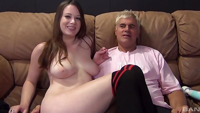 Handsome chick Natalie Moore gets fucked on the leather sofa