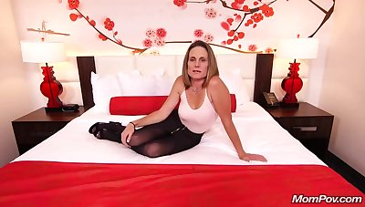 Skinny brunette milf involving saggy tits, Judith, is riding a constant white flannel for a camera