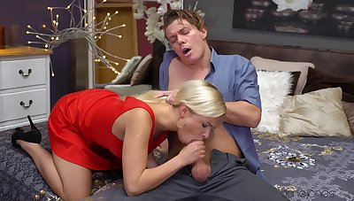 Sensual woman throats step son's dick hard enough before riding it fast