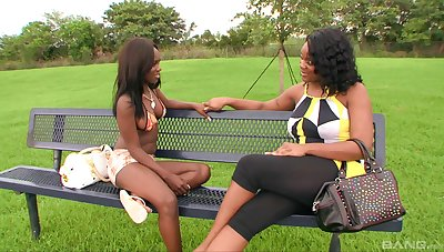 Insensible to ebony grown up is helter-skelter for a spicy lesbo treat in the air a younger slut