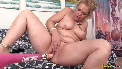 Horny age-old women enjoy their meaty pussies property drilled by fucking machines