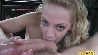 Cabbie Persuades Busty Blonde To Let Him Fill The brush All over His Cock