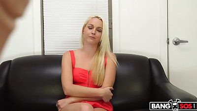 Blonde shoots her first porno coupled with gets a facial